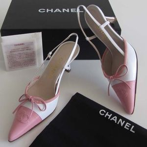 new CHANEL pink/white CC bow slingback heels 36 /6
